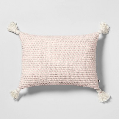 Throw Pillow Pink / Sour Cream with Tassel - Hearth & Hand™ with Magnolia