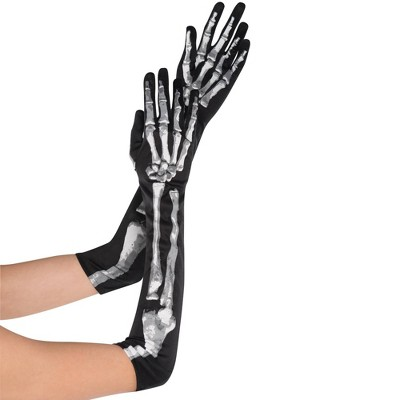 Adult Skeleton Long Gloves Accessory Halloween Costume