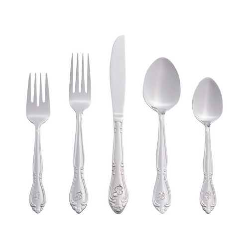 RiverRidge 46 Pc Personalized Silverware Set - Rose Pattern