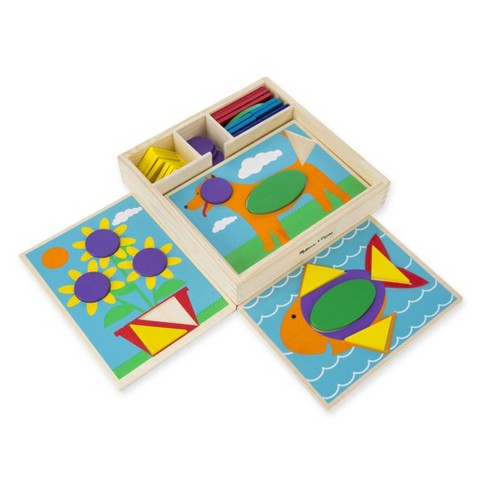 Melissa & Doug Beginner Wooden Pattern Blocks Educational Toy With 5 Double-Sided Scenes and 30 Shapes - image 1 of 4