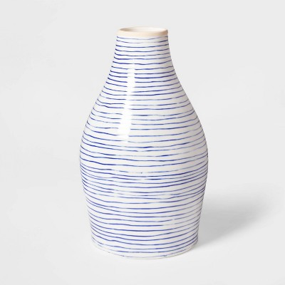 "12.1"" x 7"" Stoneware Striped Vase Blue/White - Threshold™"