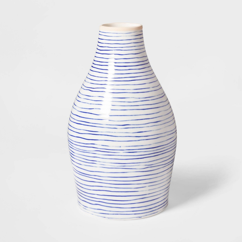 "Image of ""12.1"""" x 7"""" Stoneware Striped Vase Blue/White - Threshold"""