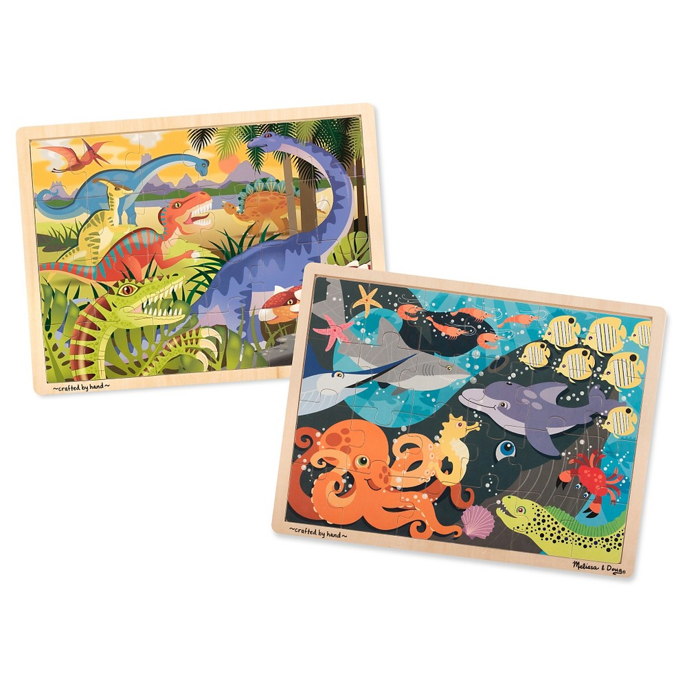Melissa & Doug Animals Wooden Jigsaw Puzzles Set - Ocean Pals and Dinosaurs 24pc each, 48pc