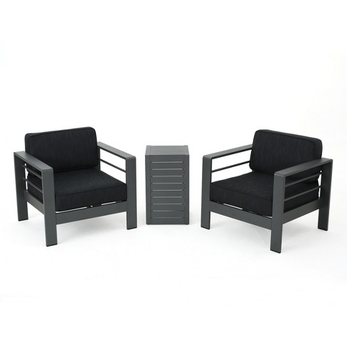 Cape Coral 3pc Aluminum Chat Set - Gray/Dark Gray - Christopher Knight Home - image 1 of 4