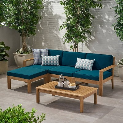 Santa Ana 5pc Acacia Wood Sofa Sectional Set - Christopher Knight Home