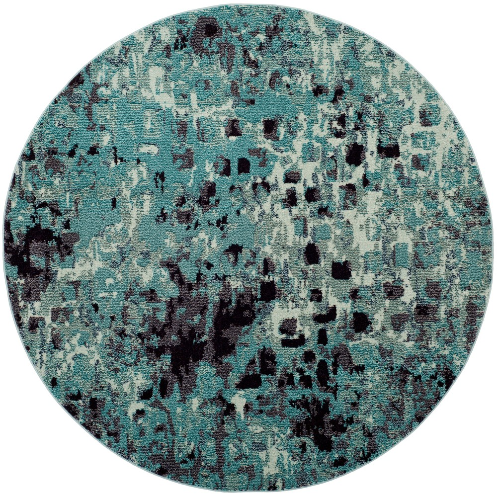 6'7 Shapes Round Area Rug Light Blue - Safavieh, Light Blue/Multi-Colored