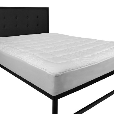 Flash Furniture Hypoallergenic Mattress Pad Quilted Fitted Mattress Cover Cotton Top Stretches up to 21 Inches Deep