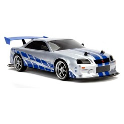 Jada Toys Fast & Furious Elite Drift RC 2002 Nissan Skyline GT-R (BNR34) Remote Control Vehicle 1:10 Scale Candy Silver