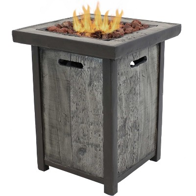 """Sunnydaze Outdoor Smokeless Cast Stone Propane Gas Fire Pit Table with Weathered Wood Look - 24"""" Square x 25"""" H"""