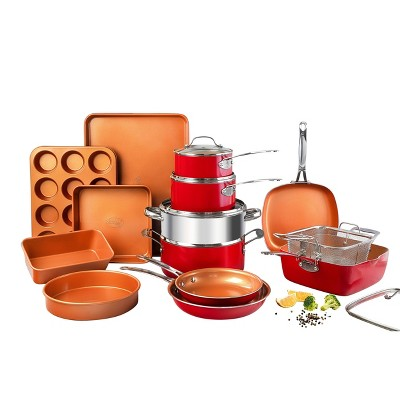 Gotham Steel Ti-cerama 20pc Cookware/Bakeware Set - Red