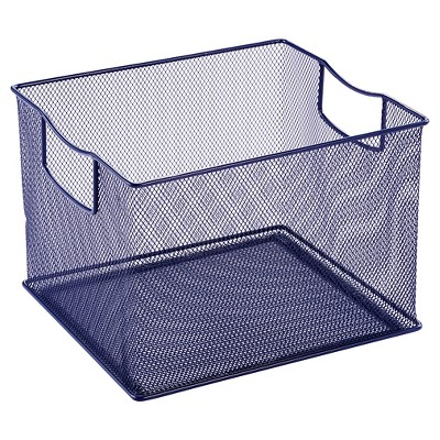 "11"" X 13"" X 14"" Wire Decorative Toy Storage Bin Navy - Pillowfort™"