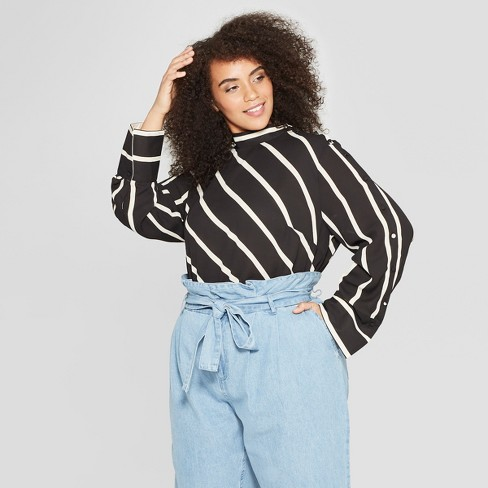 Women's Plus Size Striped Long Sleeve Cowl Neck Button Blouse - Who What Wear™ Black 1X - image 1 of 3