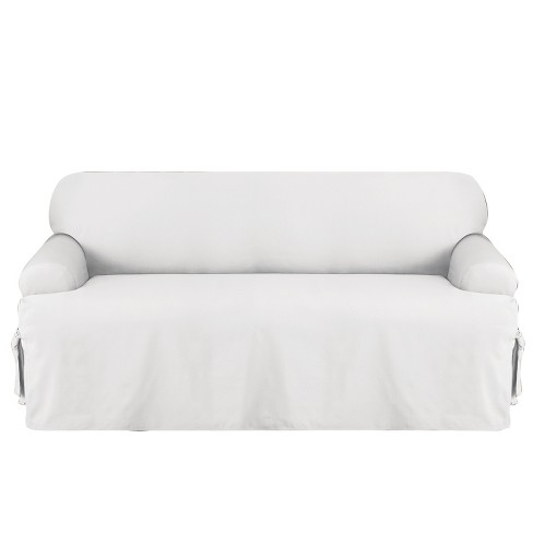 Cotton Duck T Sofa Slipcover White Sure Fit Target