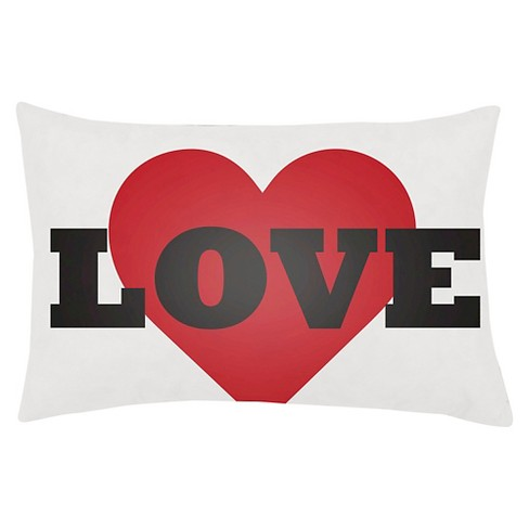 "White/Red Heart Love Throw Pillow 14""x24"" - Surya - image 1 of 2"