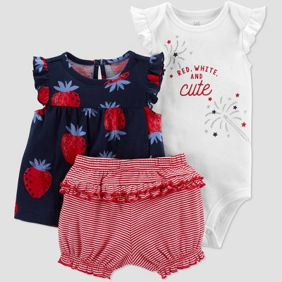 Baby Girls' Strawberry Top & Bottom Set - Just One You® made by carter's Navy/Red