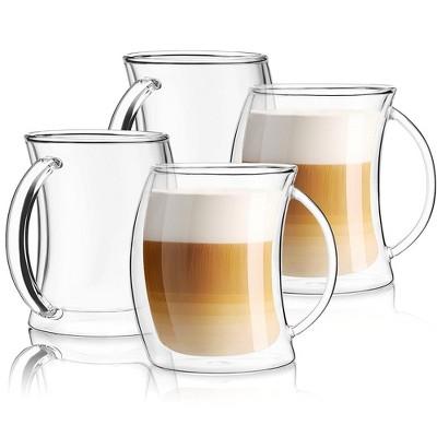 JoyJolt Caleo Collection Glass Coffee Cups - Set of 4 Double Wall Insulated Mug Glass  - 13.5-Ounces