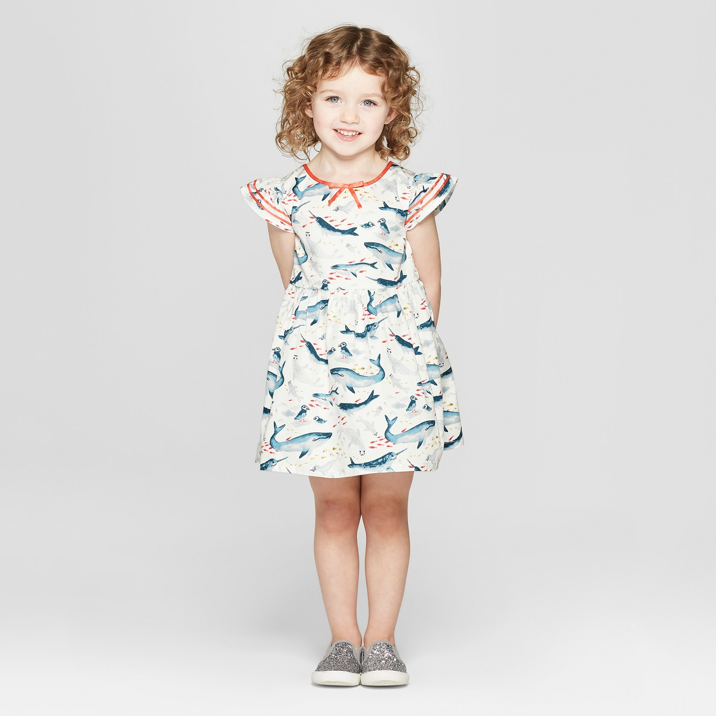 Toddler Girls' Sea Creature A Line Dress - Genuine Kids® from OshKosh Off-White - image 1 of 3