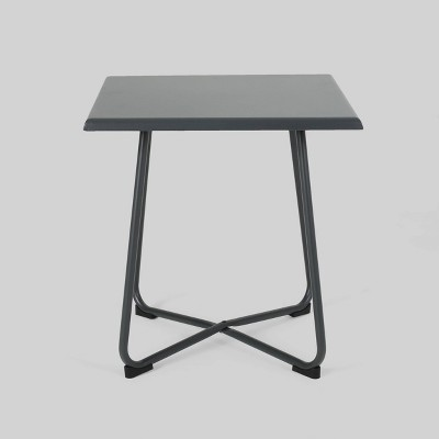 Alder Steel Modern Patio Side Table Gray - Christopher Knight Home