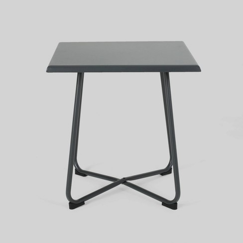 Alder Steel Modern Patio Side Table Gray - Christopher Knight Home - image 1 of 4