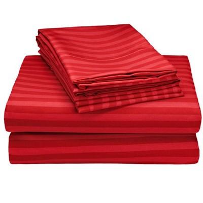 1800 Series Embossed Striped Wrinkle Resistant Sheet 4pc Set