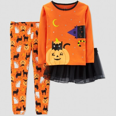 Toddler Girls' 3pc Cat Pajama Set - Just One You® made by carter's Orange 2T