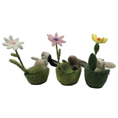 """Easter 5.5"""" Wool Bunny In Basket Set / 3 Rabbit Vintage Spring Flower  -  Decorative Figurines"""