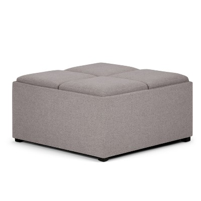 """35"""" Franklin Square Coffee Table Storage Ottoman Linen Look Fabric - Wyndenhall"""