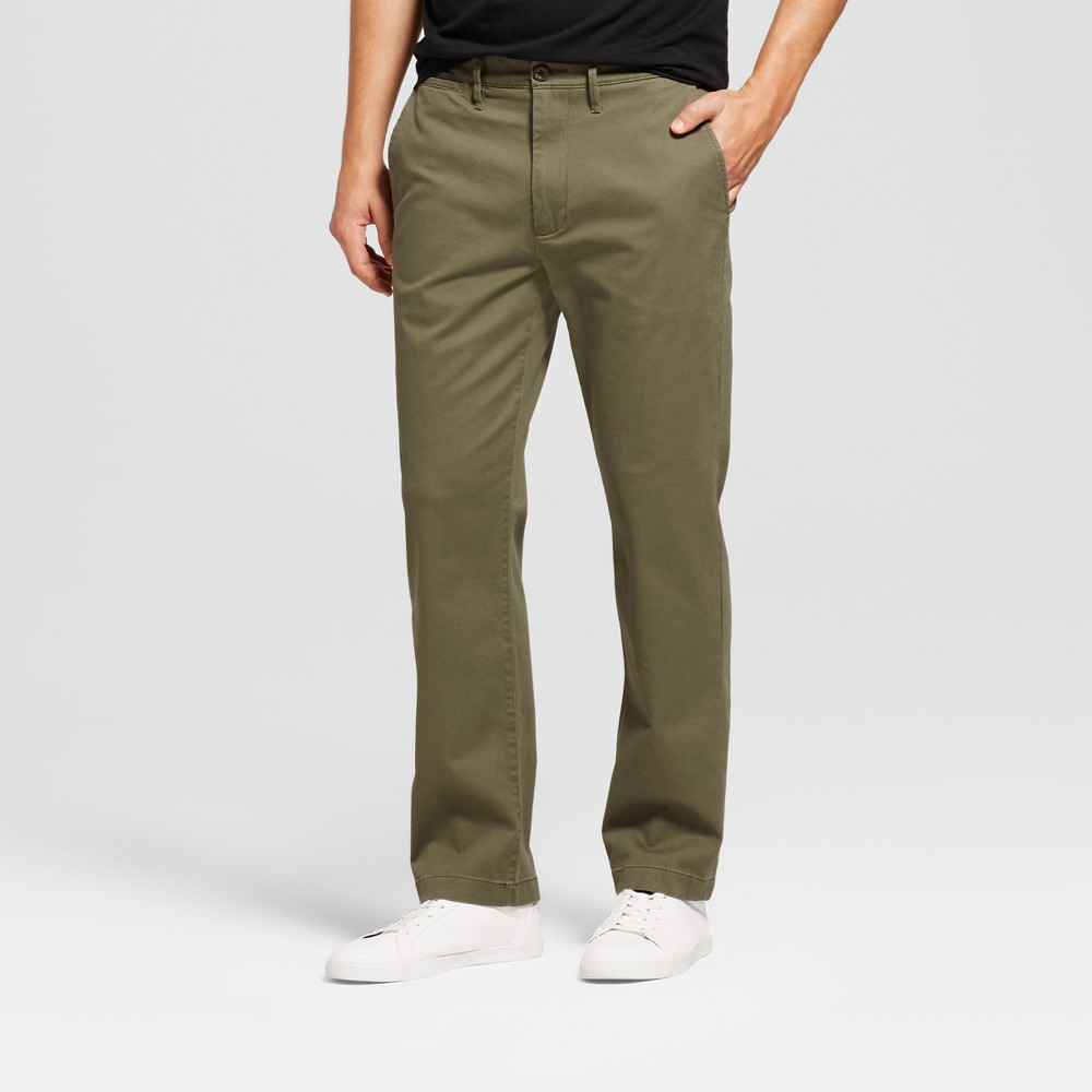 Men's Straight Fit Hennepin Chino Pants - Goodfellow & Co Olive 28X30, Green