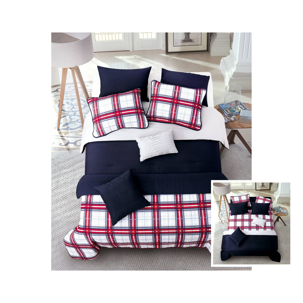 Riverbrook Home Full/Queen Red 8pc Layered Comforter & Coverlet Set Navy/Gray, Blue Gray Red