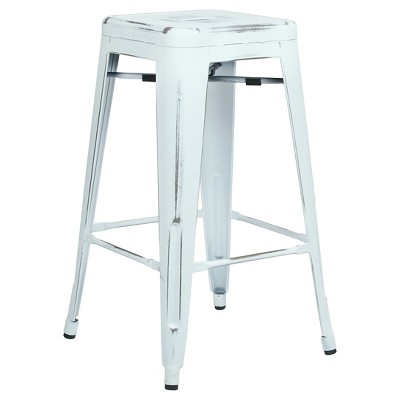 26  Set of 2 Bristow Antique Metal Barstools White - OSP Home Furnishings