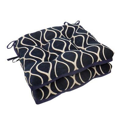 Sapphire Gemma Chenille Geometric Chair Pads With Tiebacks (Set Of 4)- Essentials