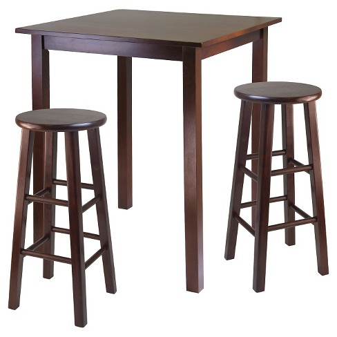 3 Piece Parkland Set High Table with Bar Stools Wood/Walnut - Winsome - image 1 of 1
