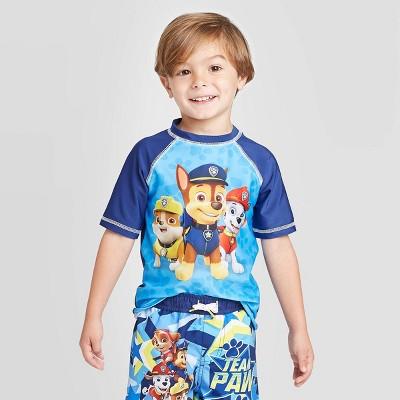 Toddler Boys' PAW Patrol Rash Guard Swim Shirt - Navy/Blue