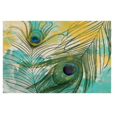 "24""x36"" Painted Peacock By Gi Artlab Art On Canvas - Fine Art Canvas"
