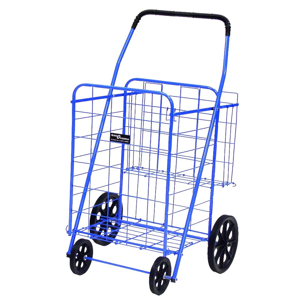 Narita Jumbo Shopping Cart Plus, Blue Get a multipurpose cart with the Easy Wheels Shopping Cart Plus. This exceptionally high quality jumbo shopping cart is ideal for hauling and storing cargo. The Easy Wheels cart is made of heavy gauge steel for durability, coated with a highly durable blue epoxy finish and rolls on hardened plastic wheels that allow for heavy-duty use and carriage. Whether you're bringing your shopping home from a store several blocks away or carrying your laundry to and from the Laundromat, this Easy Wheels Shopping Cart Plus has the storage and resilience to fit your needs. An extra rear basket is available for storing personal items while the cart's main compartment is in use and the cart is easily collapsible for home storage. If you need a wheeled cart for shopping or other purposes, consider buying this Easy Wheels Shopping Cart Plus. Easy Wheels Jumbo Shopping Cart Plus: Made of heavy gauge steel for durability Hardened plastic wheels Folds flat for easy storage Extra storage in rear basket Ideal for carrying groceries, laundry and other shopping