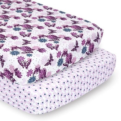 The Peanutshell Sheets Purple Butterfly/Purple Ditsy Floral 2pk