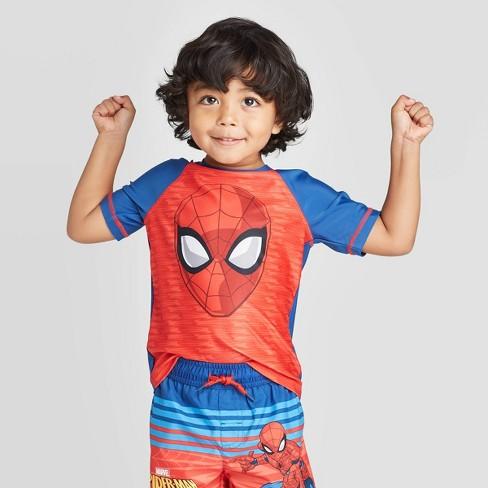 Toddler Boys' Spider-Man Rash Guard Swim Shirt - Red/Blue - image 1 of 3