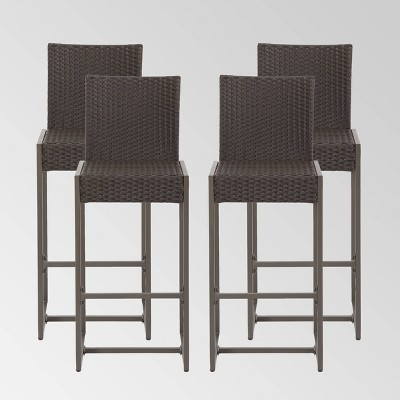 """Conway 4pk Wicker 30"""" Bar Stools Dark Brown - Christopher Knight Home"""