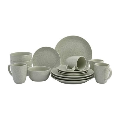 16pc Stoneware Embossed Boxwood Dinnerware Set Gray - Tabletops Gallery