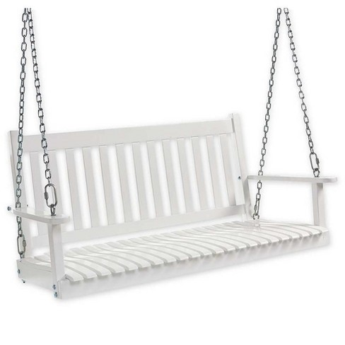 Plow & Hearth - Slatted Eucalyptus Wood Porch Swing with Hanging Chains, White - image 1 of 3