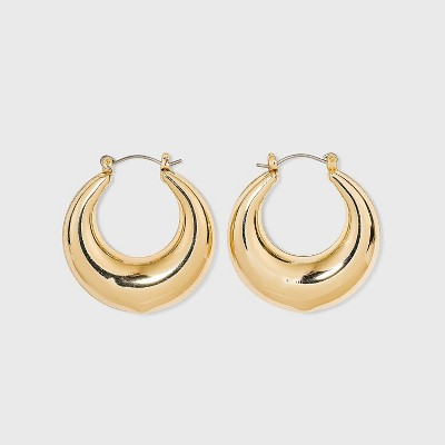 Thick Metal Hoop Earrings - A New Day™ Gold