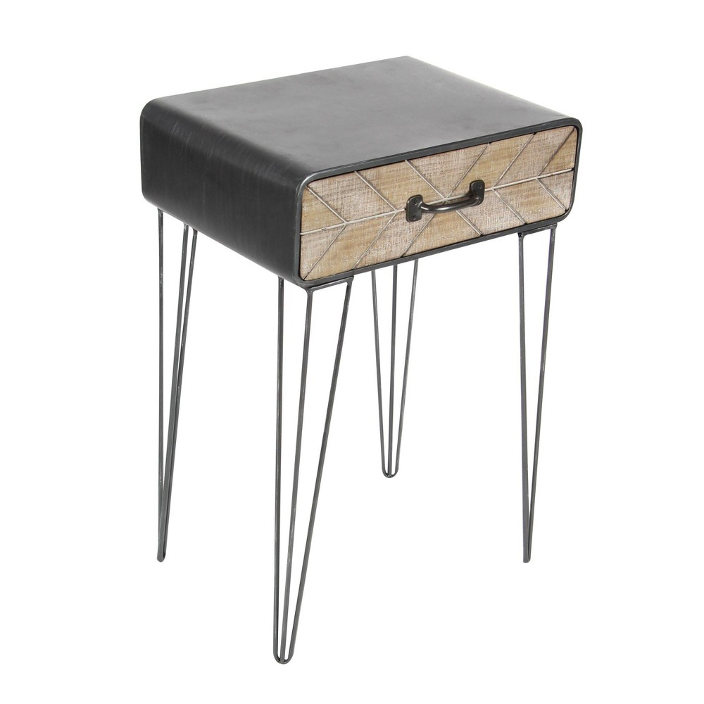 Modern Iron And Wood Accent Table Black Olivia 38 May