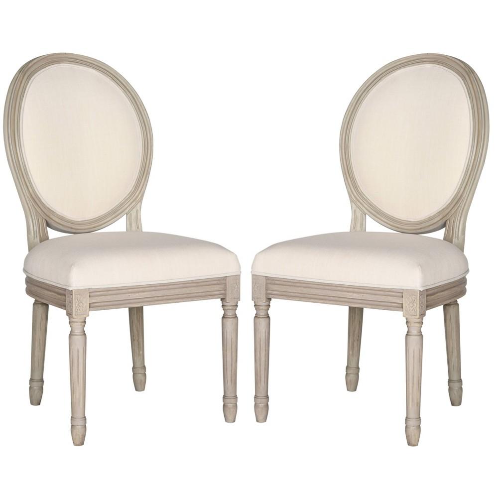 Holloway Oval Side Chair Wood/Light Beige (Set of 2) - Safavieh