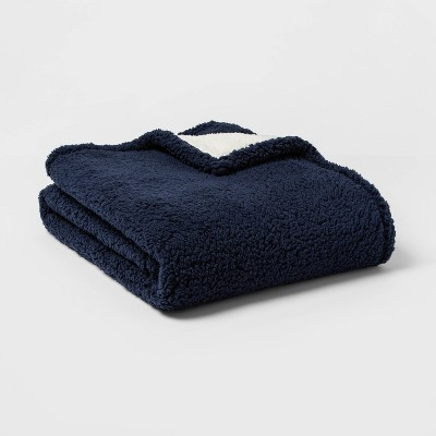 Solid Sherpa Throw blanket Navy - Threshold™