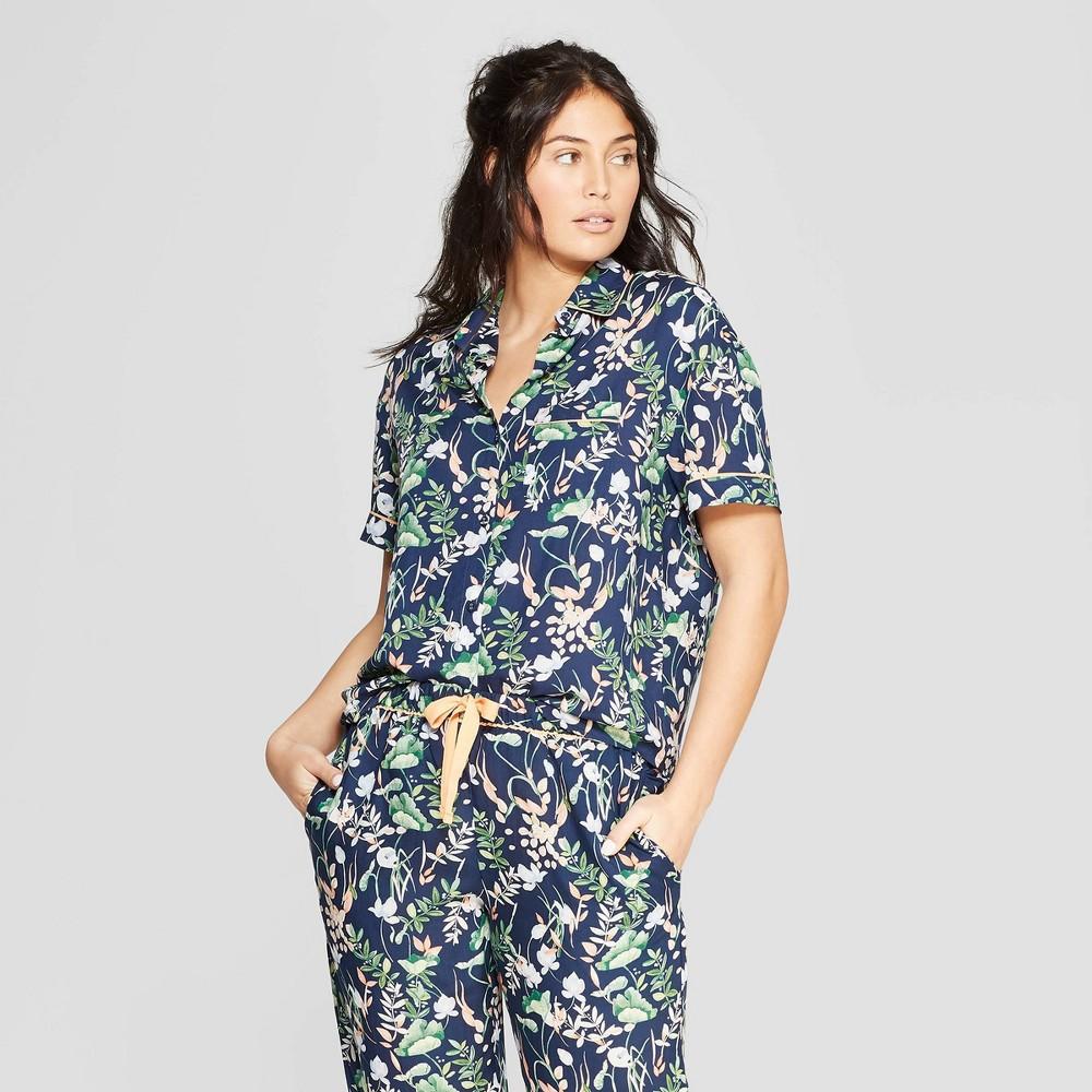 Women's Floral Print Simply Cool Short Sleeve Button-Up Shirt - Stars Above Navy XL, Blue