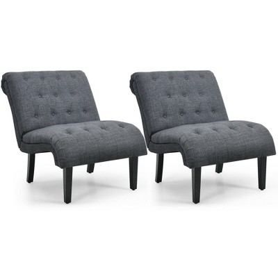 Costway Set of 2 Armless Accent Chair Upholstered Tufted Lounge Chair