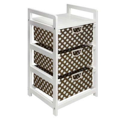 Badger Basket White 3-Drawer Hamper - Brown Polka Dots