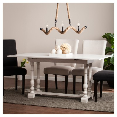 Edendale Farmhouse Folding Trestle Console To Dining Table   Distressed  White   Aiden Lane : Target