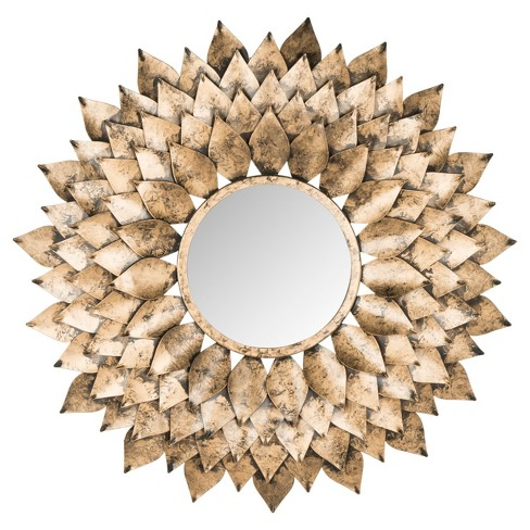 Sunburst Peacock Feather Decorative Wall Mirror Gold - Safavieh® - image 1 of 3