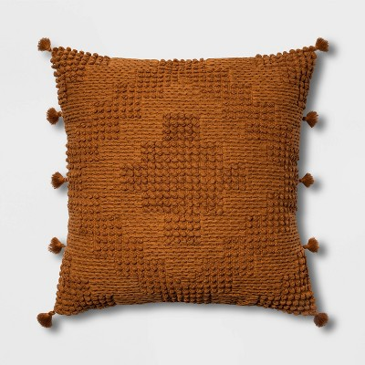 Oversize Chunky Textured Diamond Throw Pillow Brown - Opalhouse™
